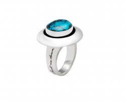 Inspirational ring with 12mm spider turquoise gemstone set in sterling sivler Band engraved with quote: Surely goodness and mercy shall hunt me down.