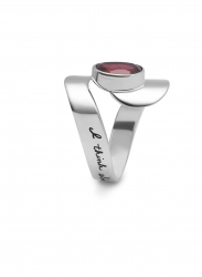 Sterling Silver swirl ring with faceted 8x10mm oval garnet in center Inspirational engraved message reads: I think about you all the time.