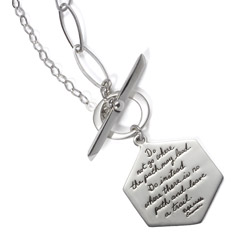 Sterling Silver toggle necklace with a variety of links Hexagon shaped plaque engraved with the words: Do not go where the path may lead. Go instead where there is no path and leave a trail. -Ralph Waldo Emerson