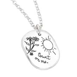 Inspirational sterling silver irregular circular shaped necklace with engraved sun, floral design and the quote: Count On Me