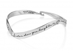 Sisters stering bracelet with floral motif and hook clasp sends message - Sisters share your laughter and dry your tears.