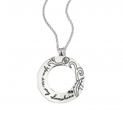 BB Becker sterling silver circle necklace with circle cutout in the center Engraved with a floral