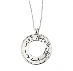 BB Becker sterling silver circle necklace with circle cutout in the center Engraved with a floral design and quote that reads: You are my sunshine.