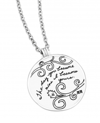 Circle sterling silver pendant with engraved floral design and inspirational quote that reads: The day you became mine, I became yours.