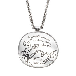 Pendant with Engraved Quote - Sometimes when you fall, you fly. | BB Becker| Inspirational Jewelry