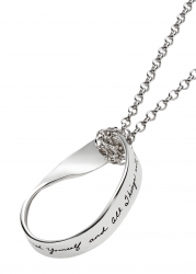 Sterling Silver oval mobius pendant Inspirational engraved quote reads: Be one with yourself and all things will come to you. -Lao Tzu