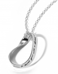 Inspirational oval mobius sterling pendant Engraved quote reads: At one glance I loved you with a thousand hearts. -Mihri Hatun