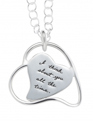 Sterling Silver leaning heart pendant heart shaped plaque inside a wire heart shape leaning to the left Inspirational message reads: I think about you all the time.