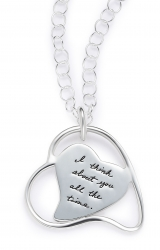 Thinking of You - I Think About You All The Time Quote Engraved on Sterling Silver