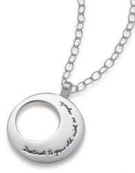 Inspirational eclipse necklace Circle shape with off center circle cutout on the left side. Quote on piece reads: Destined to grow old with no regrets