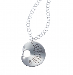 Pendant with engraved quote - Each friend represents a world in us, a world possibly not born until they arrive. ~Anais Nin | BB Becker| Inspirational Jewelry