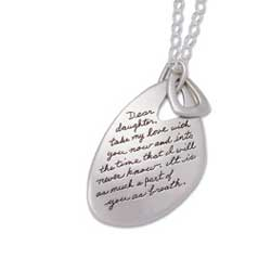 Pendant with engrave quote - Dear daughter, take my love with you now and into the time that I will never know. It is as much a part of you as breath. ~Charlotte Gray | BB Becker| Inspirational Jewelry