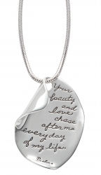 Necklace for Girlfriend Your Beauty and Love Sterling Silver Quote Necklace