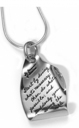 Sterling Silver pendant with two folded edges with an Inspirational message that reads: Start by doing what's necessary; then do what's possible, and suddenly you are doing the impossible. ~St. Francis of Assisi