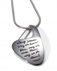 Silver pendant suggesting a pocket shape with iinspirational quotation - Strong Women. May we know them. May we raise them. May we be them.