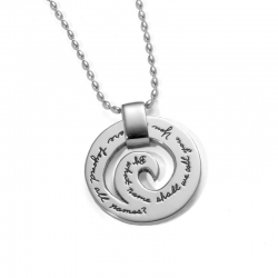 Spiral Sterling Silver Pendant with Engraved Inspirational Quote:  By what name shall we call You, You who are beyond all names? ~Gregory of Nyssa
