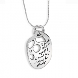 Pendant with engraved quote - i found god in myself & i loved her/ i loved her fiercely. ~Ntozake Shange | BB Becker| Inspirational Jewelry