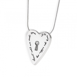 Heart Necklace - I'll Carry You In My Heart Quote Engraved on Sterling