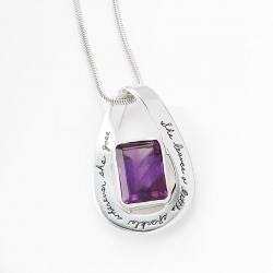 Sterling Silver tear drop mobius pendant Rectangle faceted amethyst in the center Engraved quote: She leaves a little sparkle wherever she goes.