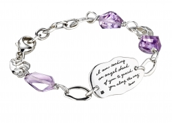 Guardian Angel bracelet with hourglass plaque, amethysts, irregular links, and Bible verse  - I am sending an angel ahead of you to guard you along the way. - Exodus