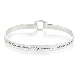 Romantic saying engraved on silver bracelet with oval hook and clasp- I have fallen in love many times... Always with you.