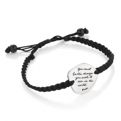 Handcrafted corded bracelet with Gandhi's message is engraved on a silver asymmetrical disc: You must be the change you wish to see in the world.