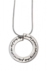 Inspirational sterling silver open circle pendant with engraved quote: Surely goodness and mercy shall follow me all the days of my life. -Psalms