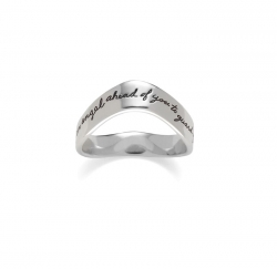 Inspirational Sterling moutain ring Engraved quote reads: I am sending an angel ahead of you to guard you along the way. -Exodus