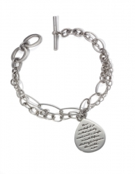 Anne Frank's inspirational How Wonderful bracelet with various-styled links combine with pear-shaped amulet engraved quote How wonderful it is that nobody need wait a single minute before starting to improve the world.