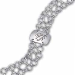Intricate hand formed double chain link bracelet with Herman Melville quotation - Our lives are connected by a thousand invisible threads.