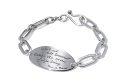 Life's Roses silver oval links and plaque bracelet has quotation - Wait not til tomorrow. Gather the roses of life today. Pierre de Ronsard