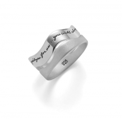 Sterling silver stacking ring with two wavey bands that fit together Inscribed quote: There are no goodbyes for us. Wherever you are, you will always be in my heart. -Gandhi