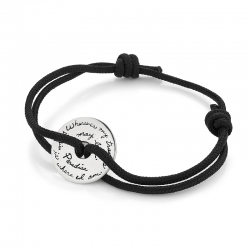 Corded Black BB Becker Bracelet Sterling Silver dics shaped plaque with center circle cutout Engraved with the inspirational quote - Wherever my travels may lead Paradise is where I am