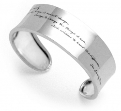 Open sterling silver cuff bracelet with engraved quote: God grant me the Serenity to accept the things I cannot change, Courage to change the things I can, and Wisdom to know the difference. -The Serenity Prayer