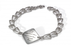 Triangle shaped open links form bracelet holding engraved quote - Strong Women. May we know them. May we raise them. May we be them.