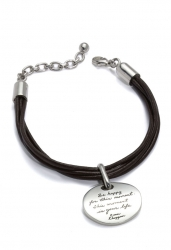 Leather adjustable size bracelet with engraved quotation on silver amulet - Be happy for this moment. This moment...is your life.  Inspirational Jewelry