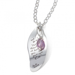 Inspirational Sterling Silver irregular leaf shaped Pendant with hanging amethyst engraved quote: And He said, This is a beautiful world I have given you. Take good care of it.