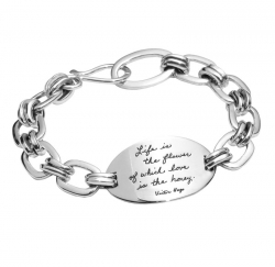 Life Is The Flower - Victor Hugo Quote Bracelet