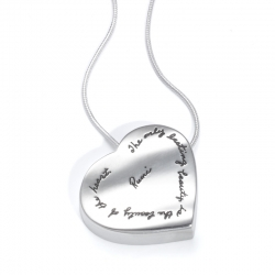Sterling silver rhythmic three-dimentional heart shaped pendant with Engraved Quote: The only lasting beauty is the beauty of the heart. -Rumi