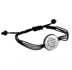 Quotation bracelet with unique corded design circling a round silver plaque engraved with: True friendship is stronger than stone.