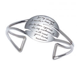 Bracelet with engraved quote - In my strength, I can be a tree for you to lean against. In my weakness, I will need your hand. ~Rita Freedman   BB Becker   Inspirational Jewelry