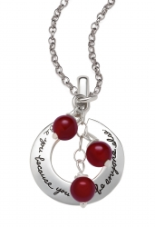 Open circle sterling necklace with three red citrine beads hanging in front. Inspirational engraved message says: Be you because you can't be anyone else.