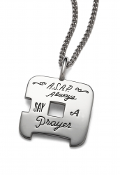 Prayer Necklace - Always Say A Prayer Quote Engraved on Sterling Silver