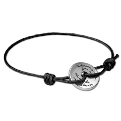 Black Corded Bracelet Sterling Silver circle plaque with a circular cutout in the center Inspirational Engraved quote reads: Wherever you are, you will always be in my heart. - Gandhi