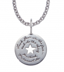 Sterling Silver circular Inspirational necklace with center star cutout engraving reads: Look fear in the face… and do the thing you think you cannot do. ~Eleanor Roosevelt