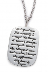 Serenity Prayer Necklace - God Grant Me The Serenity Quote on Dog Tag Engraved on Sterling Silver