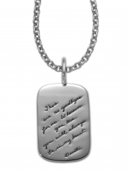 Sterling Silver Dogtag Necklace with engraved quote - There are no goodbyes for us. Wherever you are, you will always be in my heart. ~Mahatma Gandhi