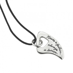 Sterling Silver Inspirational Necklace Maori tooth shape with an irregular cutout the quote says - Never a failure, always a lesson.
