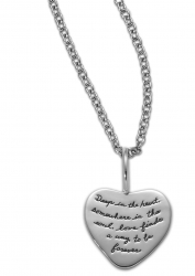 Sterling Silver Inspirational Heart shaped necklace. The quotation reads: Deep in the heart, somewhere in the soul, love finds a way to be forever.