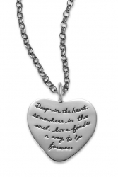 Heart Necklace for Girlfriend- Love Finds a Way to Be Forever Quote Engraved on Sterling Silver